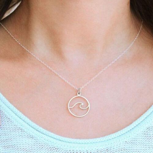 Estilo Simple para Mujer Encanto Colgante de onda clavícula Círculo Nuevo Collar Regalo CB
