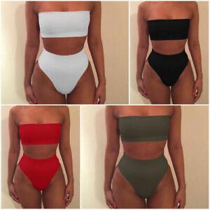 Women-Bandeau-Push-Up-Bra-High-Waisted-Bikini-Set-Swimsuit-Swimwear-Bathing-Suit