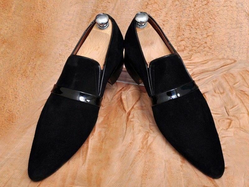 Zapatos para hombre hecho a mano Negro De Cuero De Gamuza Mocasines formal Vestido Informal botas de desgaste