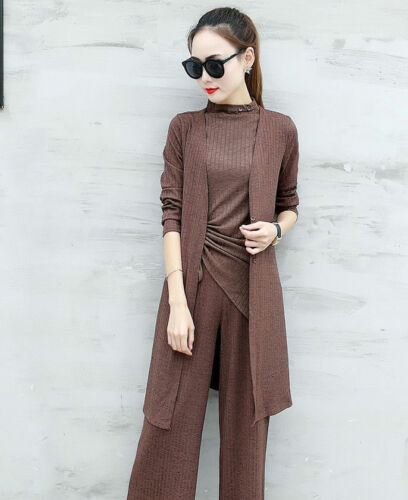 Fashion Women/'s Summer Casual Comfy Shirt Tops Cardigan Pants Three Piece Set