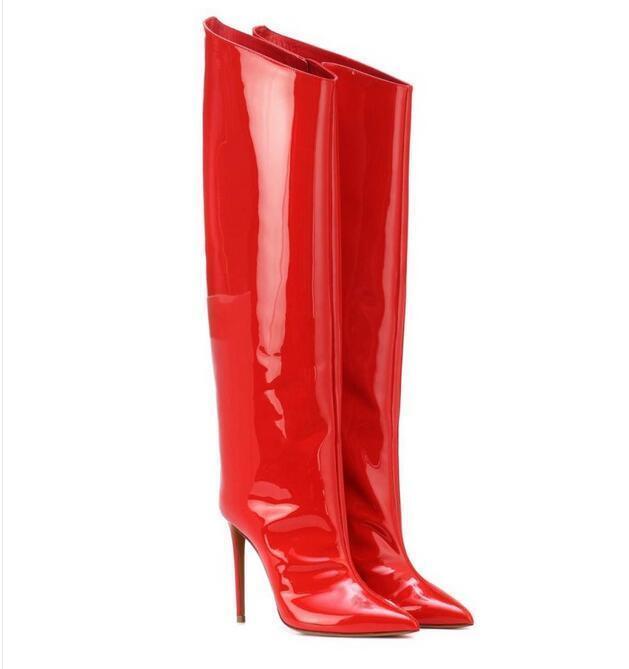 Wadenhohe Stiefel Damen Sexy Stiefel Schuhe High Heels Spitz Zehe Schuhe Stiefel Nachtclub Europa 53fa5c