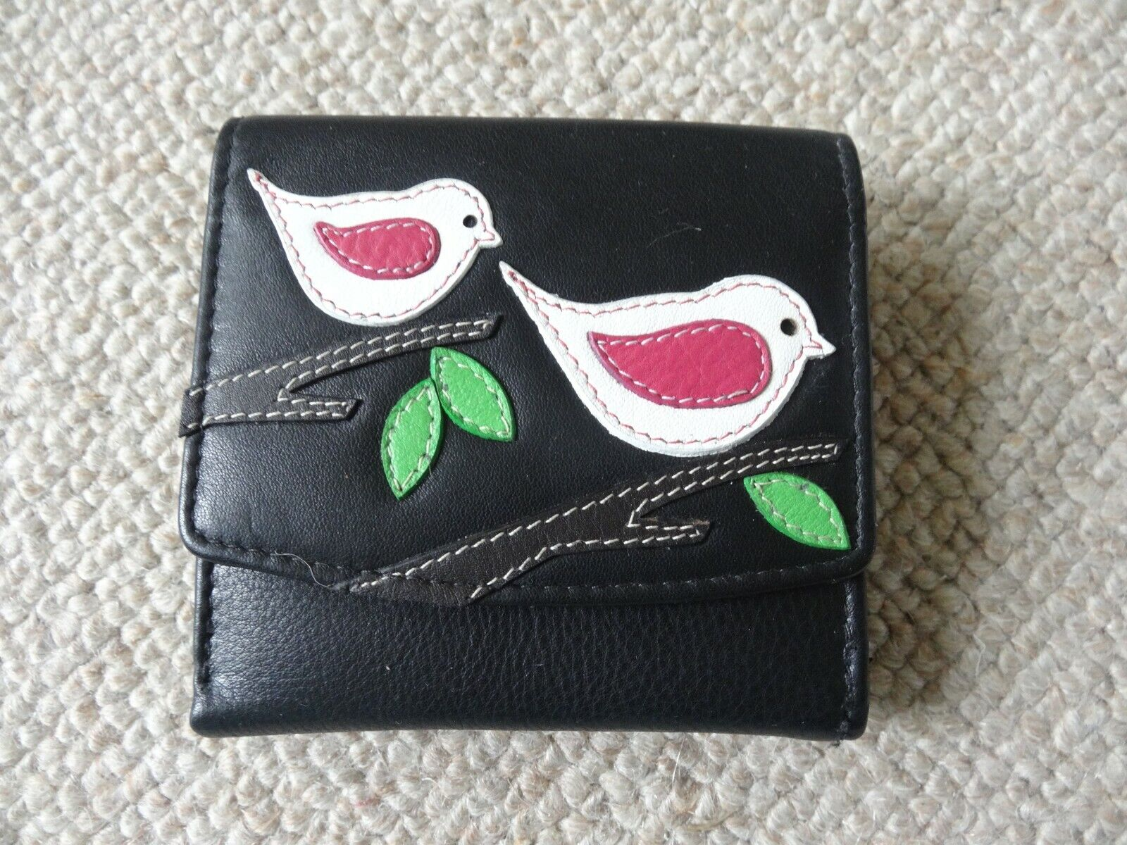 Mala Leather Ladies Compact Purse Wallet Willow Design with Stitched Bird Motifs