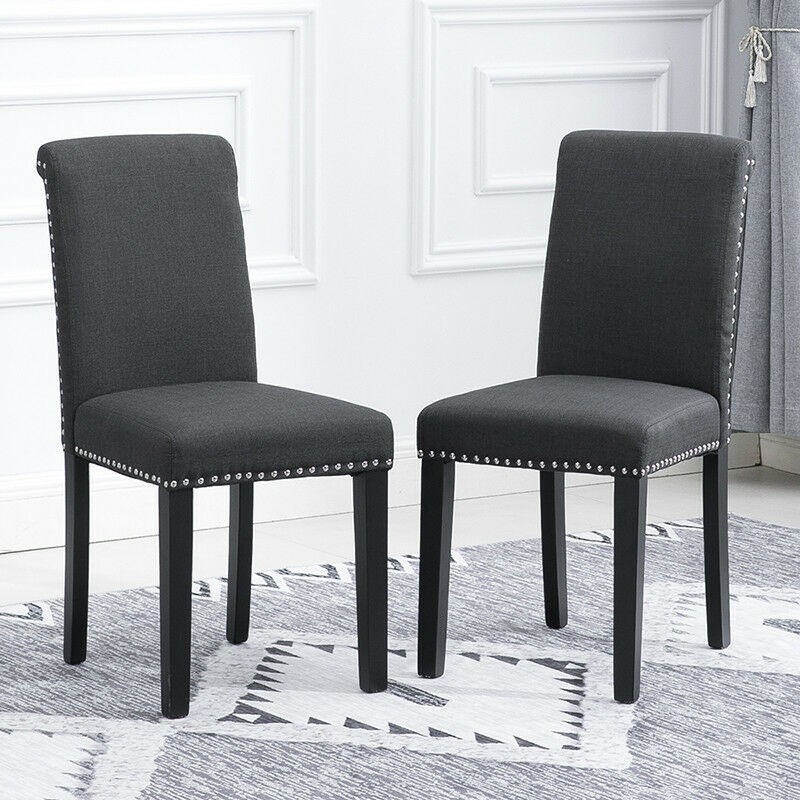 Dining Room High Chairs: 2/4/6Pcs Dining Room Grey Dining Chairs High Back Fabric