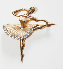 Boucher Ballerina / Ballet Dancer Rhinestones Vintage Brooch Signed MB 2977