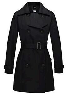 ZSHOW Women's Double Breasted Trench Coat Belted Lapel, Black, Size X-Large lLAU