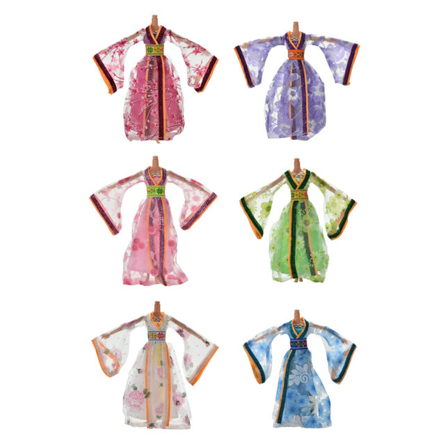 Dress for Barbies Classical Beautiful Chinese Ancient Dress Doll Toy 6Colors E9C
