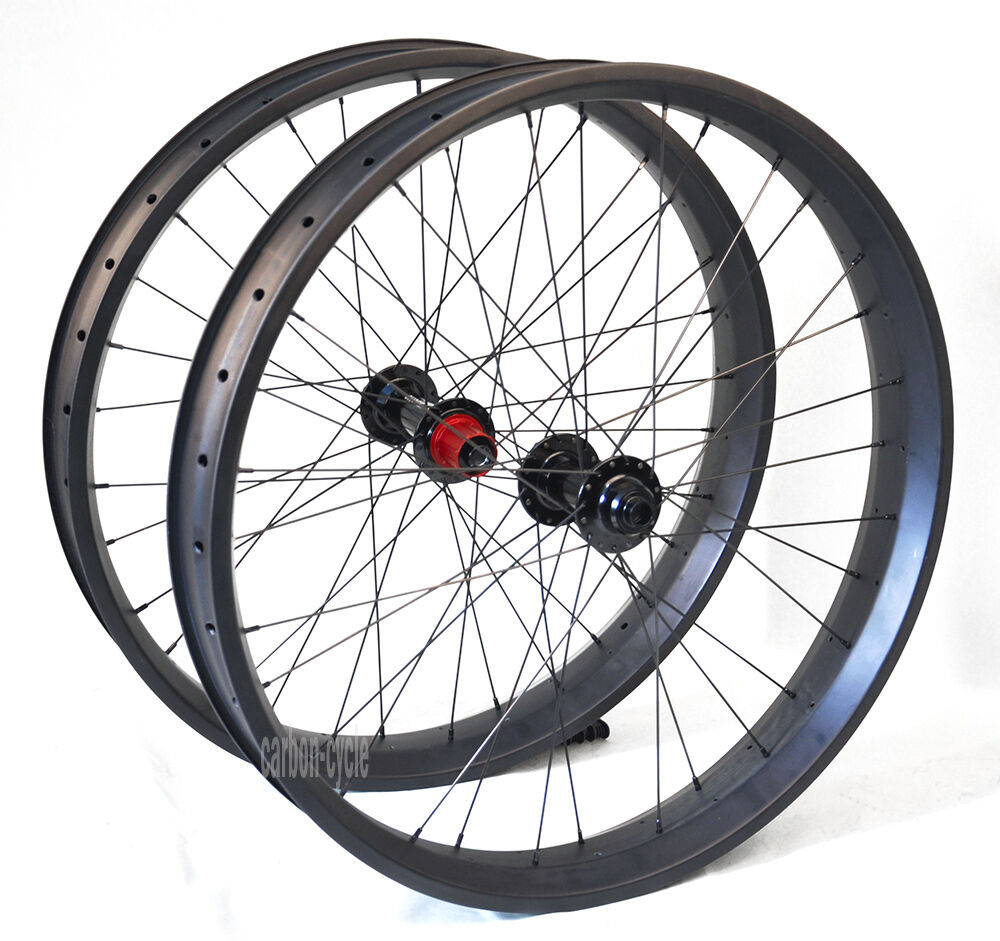 Chosen 26er Fat bike Wheel Carbon Clincher 80mm UD Matt 150 197 thru axle Snow