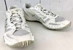 Women-039-s-Asics-Running-Racing-Shoes-QQ75A-Sz-9-1-2M-White-Silver-Pre-Owned