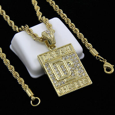 """Mens Gold Plated Block Dream Chaser Hip-Hop Pendant 30/"""" Rope Chain Necklace D937"""