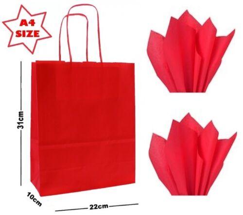 Papel A4 Rojo Regalo Fiesta Bolsas y tejido WRAP ~ Bolsa De Tienda Boutique