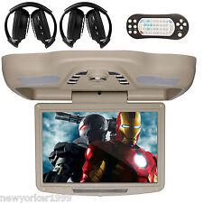 "12.1"" HD LCD Car Roof Mount Flip Down DVD Player IR FM TV Game+ Free Headphones"