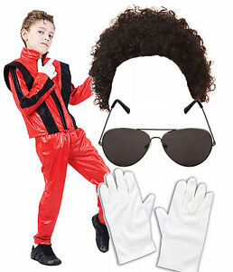 BOYS BLACK SUPERSTAR 1980/'S JACKSON FANCY DRESS BOOK WEEK SIZE 4-12 YEARS