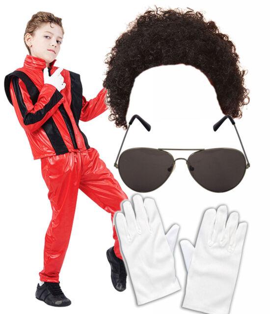Boys Michael Jackson Bad Black 80 90s Fancy Dress Costume Wig Glasses Gloves Hat
