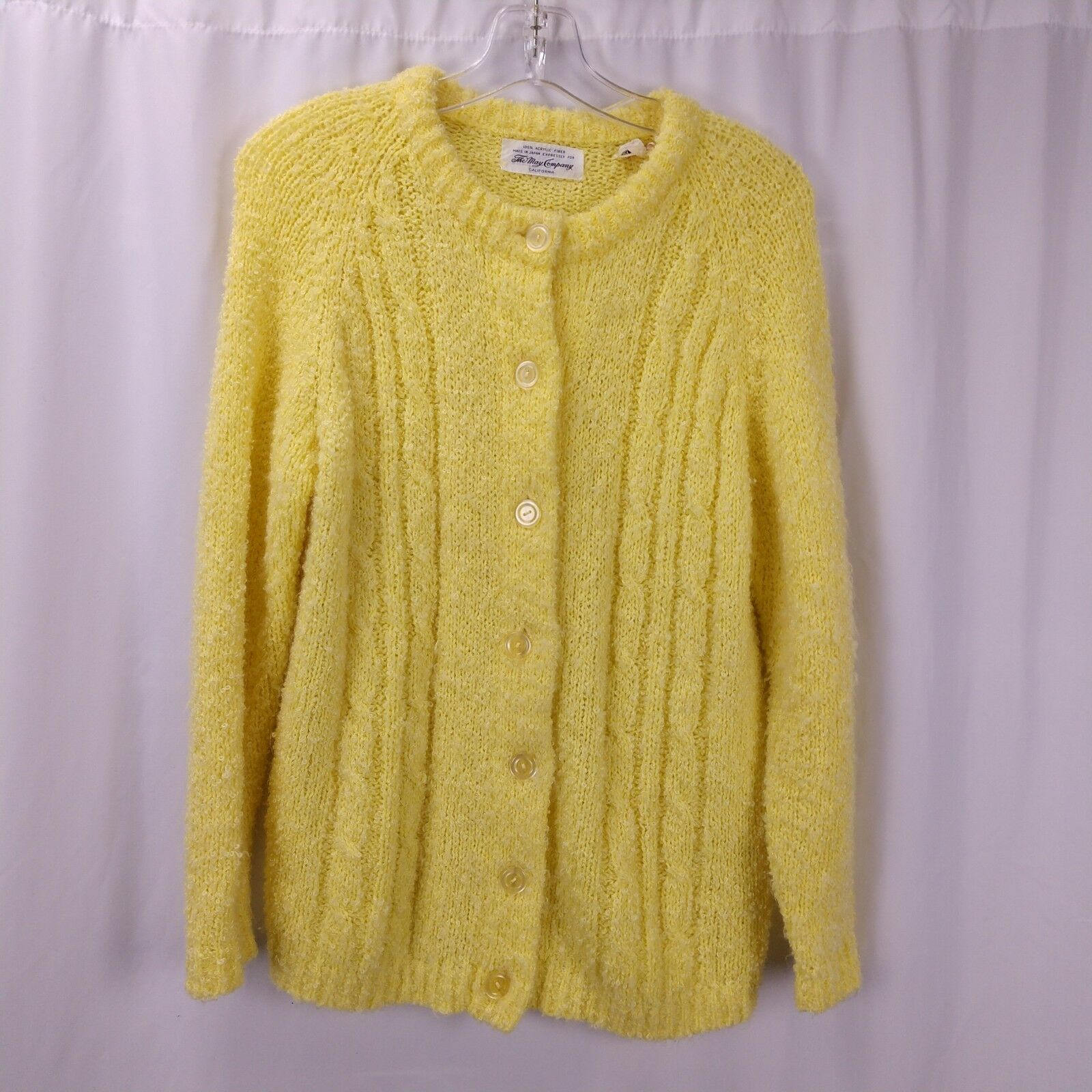 May Company Cardigan Sweater L Vintage 60s Pale Yellow Made in Japan