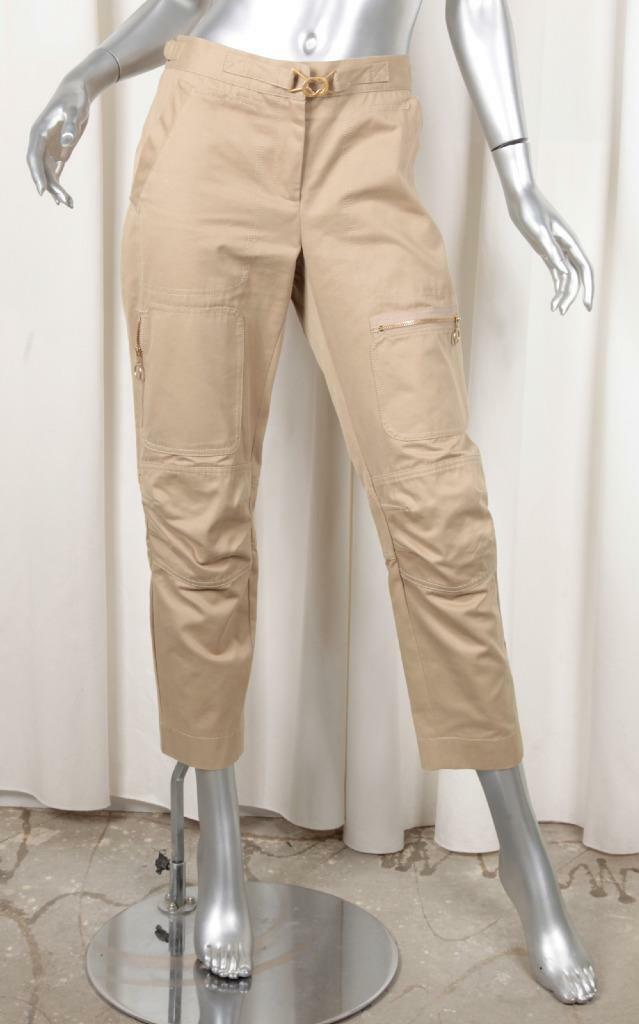 BOTTEGA VENETA Womens Casual Beige Khaki Cotton Straight-Leg Cargo Pants 44 8 M
