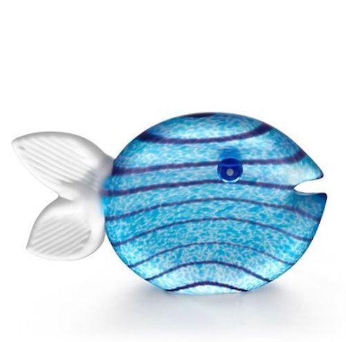 Oggetti Oggetti Oggetti - Hand Blown Glass Sculpture - Paperweight -  Snippy  Fish - Light Blau c21a5f