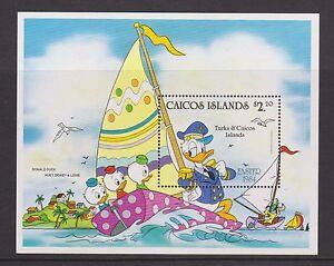 Hoja-De-Sellos-Caicos-estampillada-sin-montar-o-nunca-montada-Disney-Donald-Duck-Pascua-1984-SG-MS54