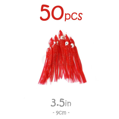 """50pcs 3.5/"""" Red Squid Skirts Octopus Rock Fishing soft Lures Trolling Hoochies"""