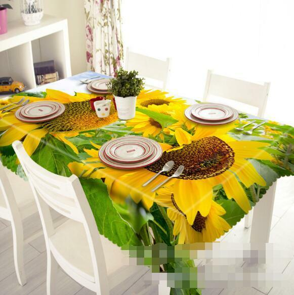 3D Sunflowers 202 Tablecloth Table Cover Cloth Birthday Party Event AJ WALLPAPER