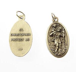 St-Christopher-Grand-medaille-CHAPELET-DE-PERLES-PENDENTIF-3-5cm-catholique