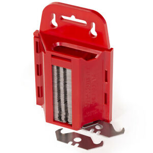 100pc Hook Utility Blades w/ Dispenser | Box Cutter Replacement Knife Set Carpet