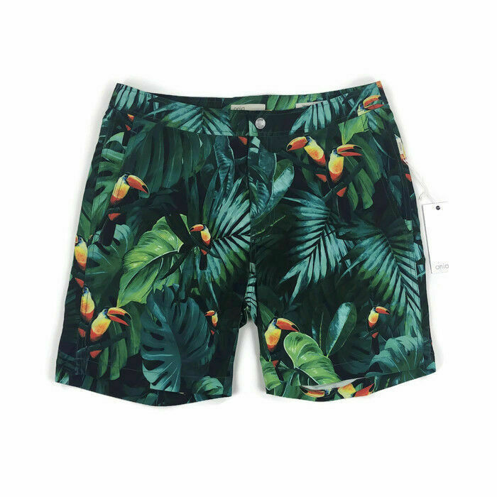 Onia Mens Swim Trunk Suit Calder 7.5 Inch Toucan Bird Print Green Variety Sizes