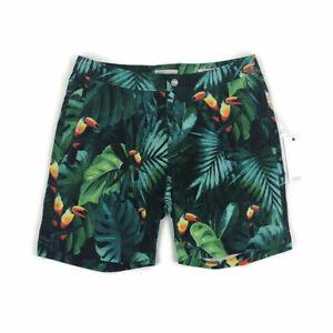 84da6c229b Onia Mens Swim Trunk Suit Calder 7.5 Inch Toucan Bird Print Green ...