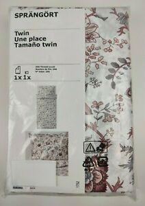 Nueva-Funda-nordica-IKea-sprangort-doble-tamano-y-una-sola-Funda-De-Almohada-Blanca-Rosa-Floral