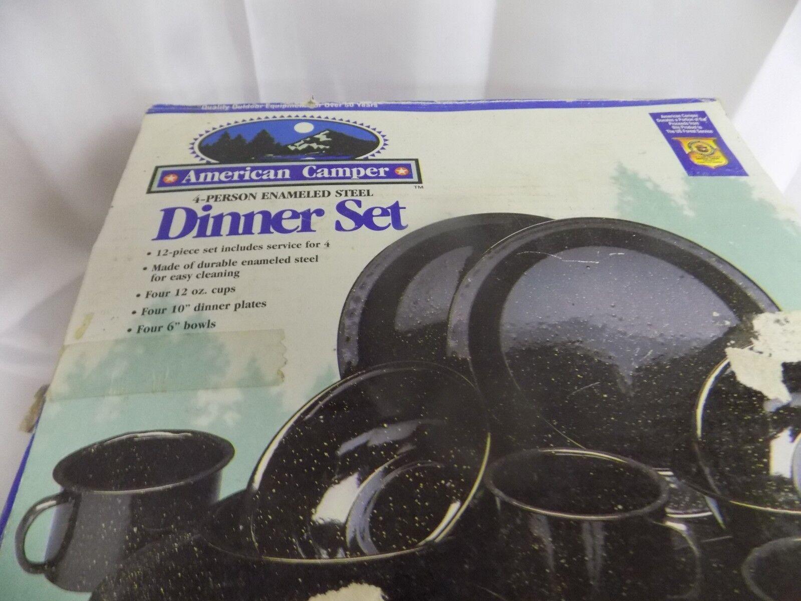 AMERICAN CAMPER 4 PERSON ENAMELED STEEL DINNER SET NEW