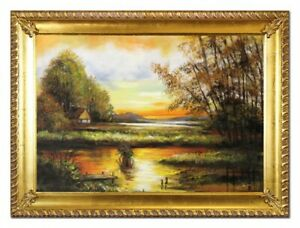 Oil-Painting-Pictures-Hand-Painted-with-Frame-Baroque-Art-G96538