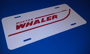 BOSTON WHALER LICENSE PLATE - GLOSS WHITE METAL WITH RED PRINT - NICE !