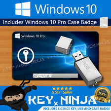 Windows 10 Pro Professional Genuine Licence Key + Bootable USB + Badge 32/64bit