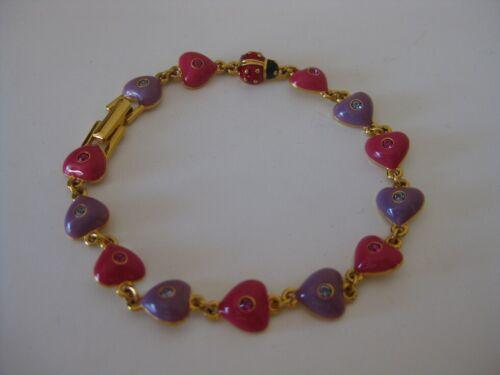 Joan Rivers Enamel Heart and Lucky Ladybug Bracele