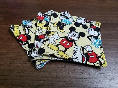 Set of 4 Mickey and Minnie Embroidered Coasters