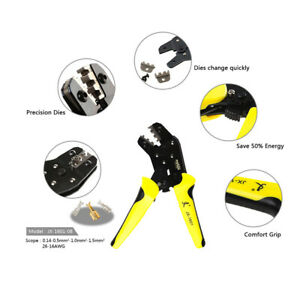 Pro-Wire-Crimpers-Ratchet-Terminal-Crimping-Pliers-Tool-3-96-6-3mm-26-16AWG-GG