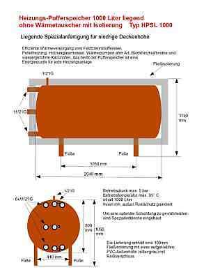 Pufferspeicher 1000 Liter Liegend Mit Isolierung. Direkt Vom Hersteller