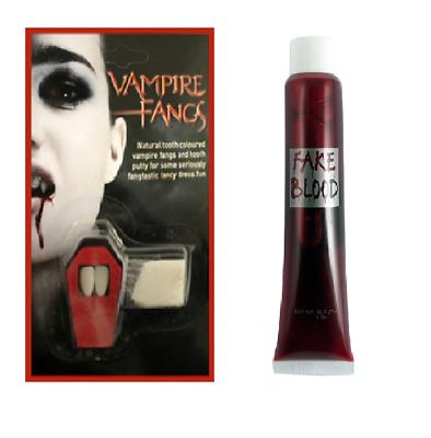VAMPIRE DRACULA FANGS CAPS TEETH HALLOWEEN FANCY DRESS FAKE BLOOD PUTTY ADHESIVE