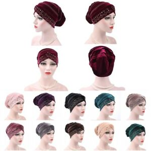 77367e59dd364 Women Lady Velvet Ruffle Cancer Chemo Hat Beanie Scarf Turban Head ...