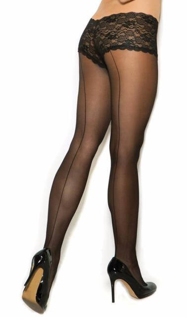 Sheer Back Seam Pantyhose with Attached Lace Floral Panty Hosiery Nylons 1170