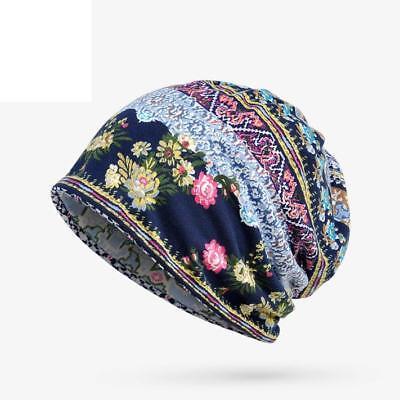 Unisex Print Hat Ruffle Cancer Warm Hat Beanie Scarf Collar Turban Head Wrap Cap