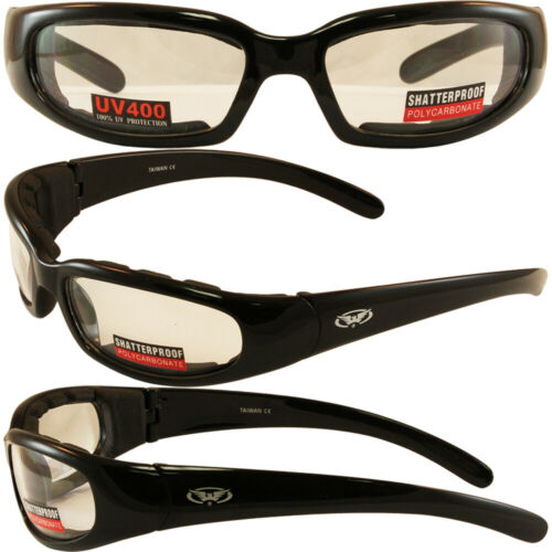 Global Vision Chicago Padded Motorcycle Night Riding Glasses Shatterproof Clear