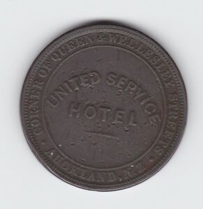1874-Token-1-Penny-United-Service-Hotel-Auckland-New-Zealand-NZ-F-423