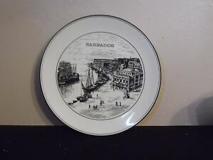 Image is loading Black-&-White-Barbados-Port-Decorative-Plate-10- & Black \u0026 White Barbados Port Decorative Plate 10 1/4 Inch Diameter | eBay