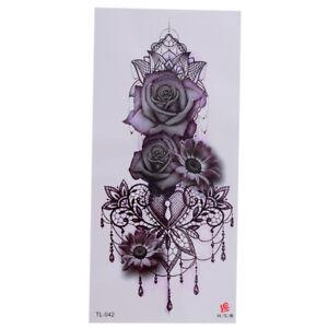 Blume-Einmal-Tattoos-Blumen-rose-Temporaere-Tattoo-Body-Sticker-19x9cm