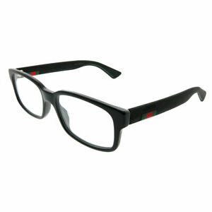 New-Authentic-Gucci-GG0012O-001-Black-Plastic-Rectangle-Eyeglasses-54mm