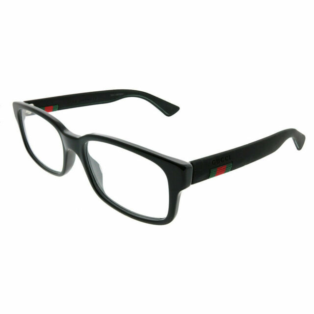5b31c0cfc3 New Authentic Gucci GG0012O 001 Black Plastic Rectangle Eyeglasses 54mm