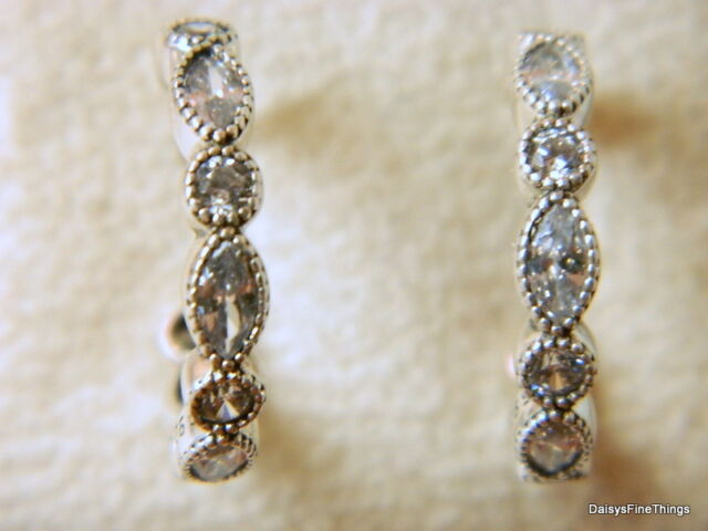 71e23aabb PANDORA Sterling Silver Alluring Brilliant Marquise Hoop Earrings 290724CZ