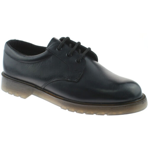 MENS GRAFTERS BLACK LEATHER 3 EYELET LACE UP UNIFORM SECURITY SHOES M162A KD