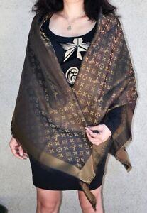 0c993c903cbab NEW LV Monogram Silk Wool Shine Scarf Shawl 100% Authentic M75122 ...