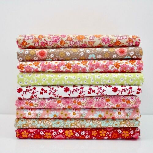 FAT QUARTER BUNDLE FLORAL 100/% COTTON Quilting OEKO-TEX FQ Fabric Leaves Flowery